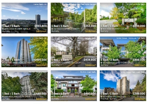 Burnaby condos and homes under 500K
